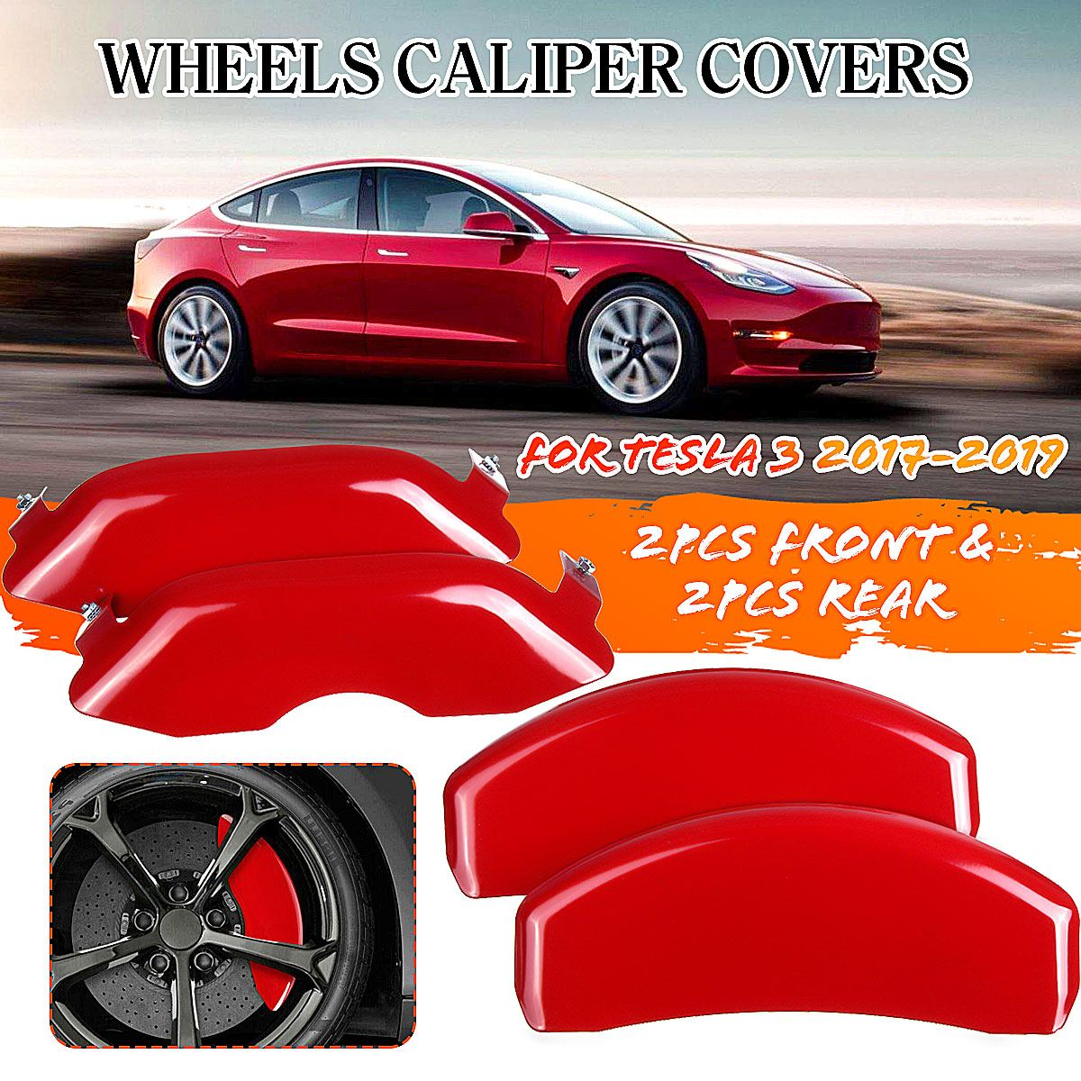 Caliper-Cover Disc-Brake Rear-Brake-Cover Car-Wheel Tesla-Model Front Long-Range Red title=