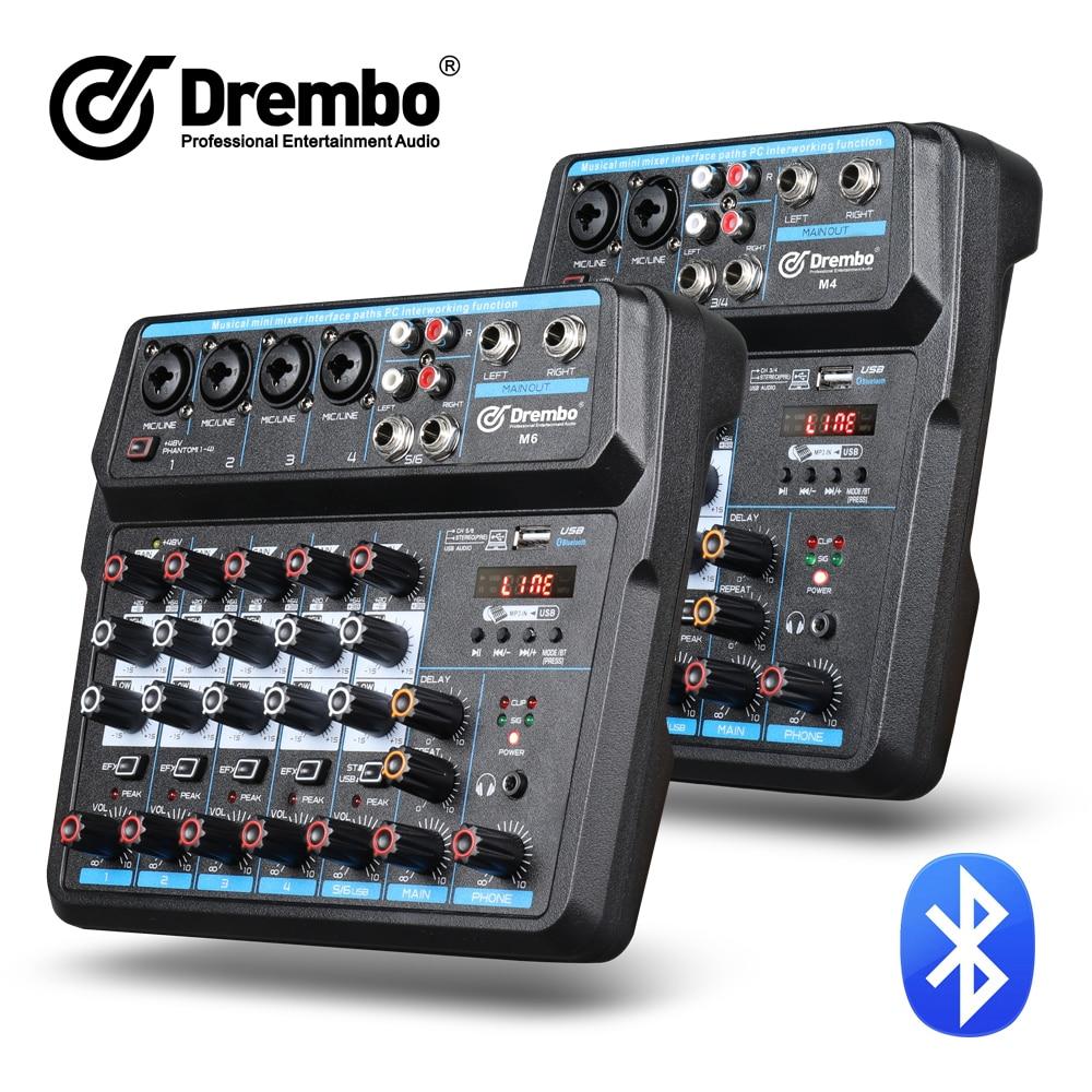 Drembo 4/6channel Protable digital audio mixer console with Sound Card,bluetooth, USB, 48V Phantom Power for DJ PC Recording