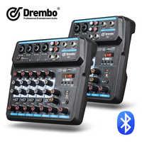 Drembo M-4/6 Protable Mini Mixer Audio DJ Konsole mit Soundkarte, USB, 48V Phantom Power für PC Aufnahme Singen Webcast Party