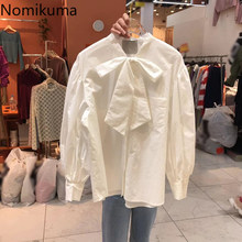Nomikuma agradable arco corbata Puff manga camisa blusa coreano casual De mujeres Tops 2021 primavera nueva Camisas De Mujer Elegantes 6E656