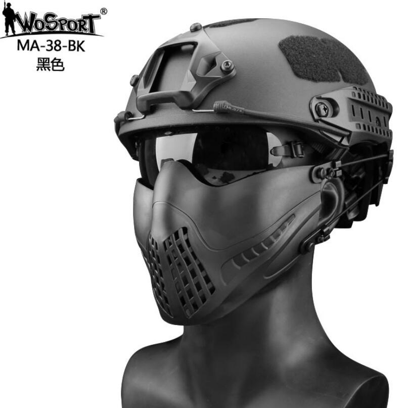Wosport Men Tactical Outdoor Headband System Breathe Free Pilot Military Mask Fighter Shot Paintball Protector Solid Camo Mask