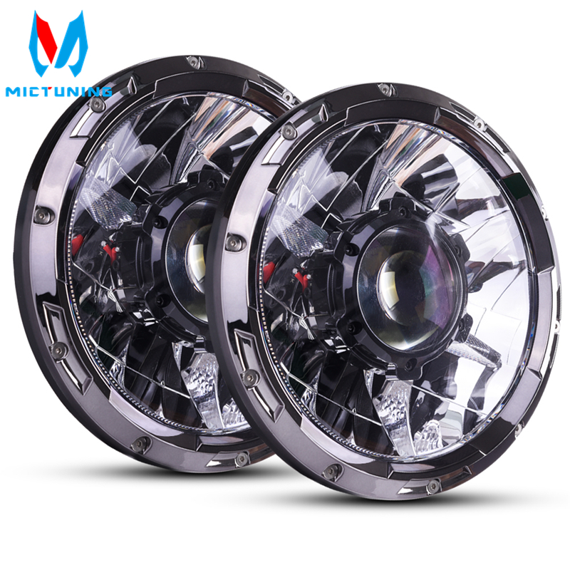 MICTUNING 7 Inch Upgrade LED Driving Headlight with Laser Light Beam 6000K Hyperspot Combo Light for Vehicle Motorcycle Boat RV-in Light Bar/Work Light from Automobiles & Motorcycles