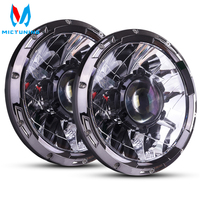 MICTUNING 7 Inch Upgrade LED Driving Headlight with Laser Light Beam 6000K Hyperspot Combo Light for Vehicle Motorcycle Boat RV
