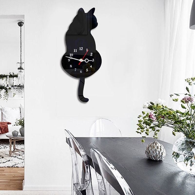 3D Cute Cat Wall Clock Wag Tail Silence Home Decoration Kids Gift Black