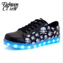 New Children Skull Led Light Shoes Kids Fluorescent Sneakers Boys Luminous Footw