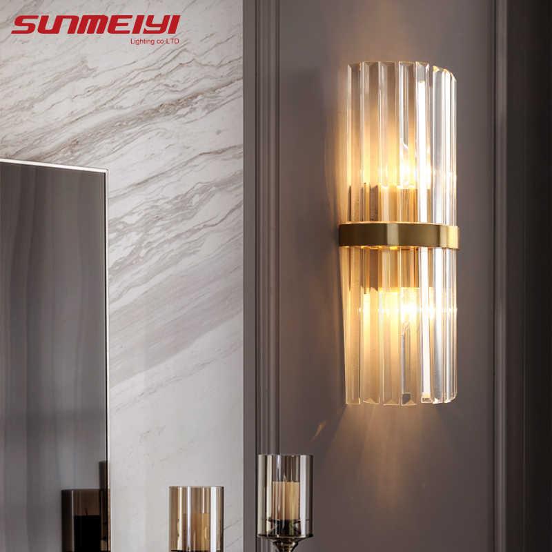 Nordic lampy ścienne LED kryształowe oświetlenie do sypialni złote oświetlenie domu do salonu korytarz łazienka schody lampa wystrój przemysłowy