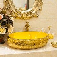 Ceramic Above Counter Basin Oval Washbasin Basin Bathroom Art Basin Gold Sink Wash Hand Basins Vessel Sink with Kitchen Faucet