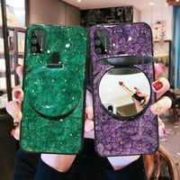 De Lujo caso para Samsung Galaxy Note20 20Ultra S21 S20 S20FE 5G S10 S9 S8 M30S M21 M21S M31S espejo de maquillaje funda de silicona