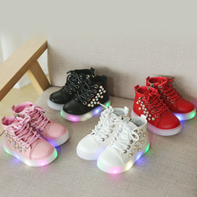 Diamond cute princess girls boots fashion Lovely children shoes lace up LED lighting baby kids sneakers