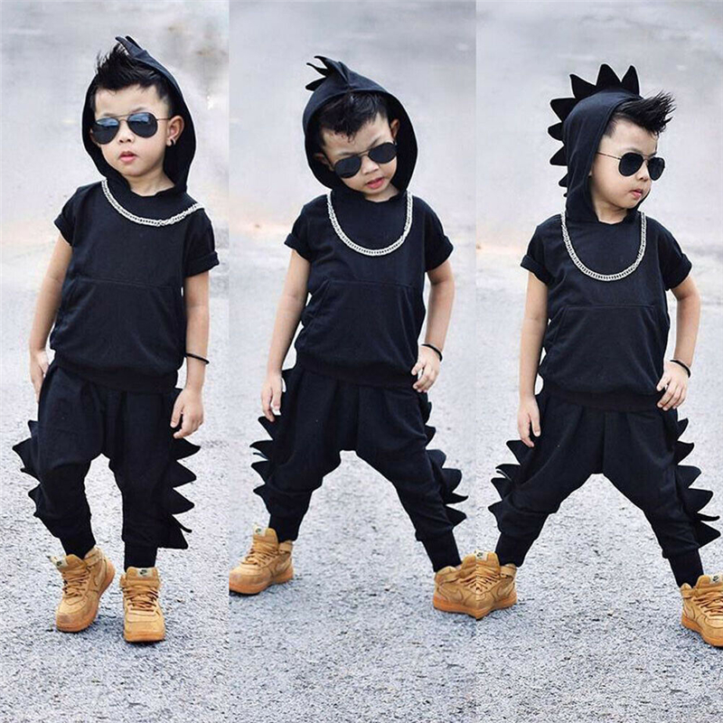 Dinosaur Outfits T-Shirt Hooded Long-Pants Two-Piece-Set Toddler Baby-Boys Kids Casual title=
