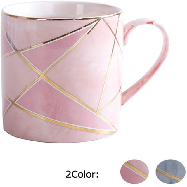 Marble Ceramic Mug Handcraft 380ml Coffee Mug Tea Cup with Handle Decoration with Sparkly Gold Breakfast Milk Water Cup for Girl 1