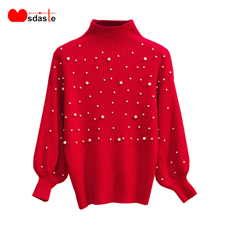 Autumn Winter Women Beading Knitted Sweaters Batwing Long Sleeve Thick Pullovers Woman Sweater Bead Decor Female Top Ladies Tops