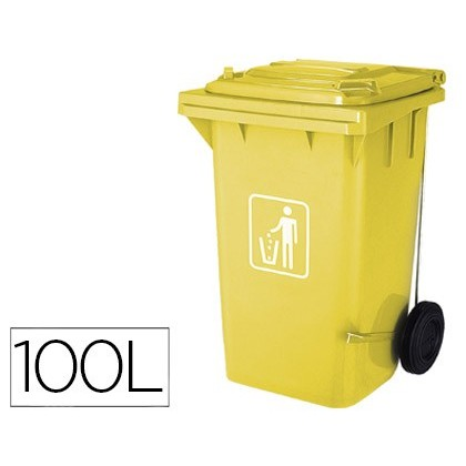 BIN CONTAINER Q-CONNECT PLASTIC WITH TAPADERA 100L COLOR YELLOW 750X470X370 MM WITH WHEELS