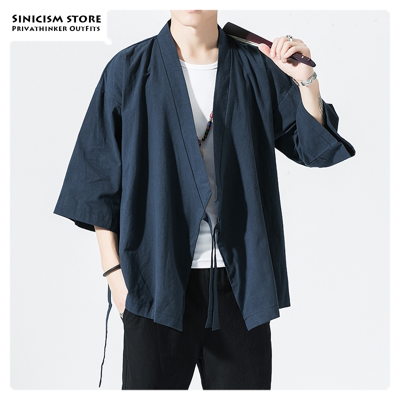 Sinicism Store Men Chinese Style Oversize Vintage Jackets 2020 Mens Open Stitch Kimono Jacket Clothes Male Autumn Black Coat