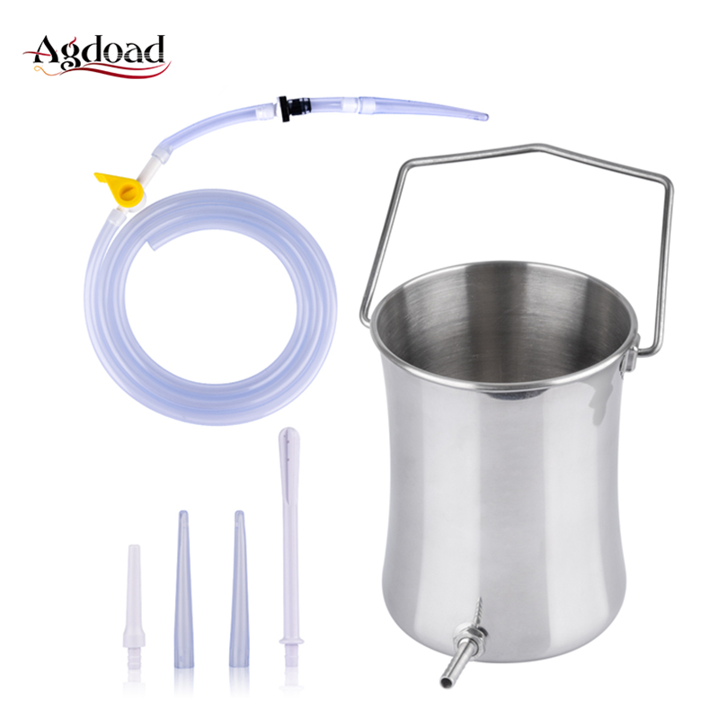 2L Non-Toxic Enema Bucket Kit For Colon Cleanser Hose Health Flusher Constipation Wash With 4 Irrigation Nozzle Hygiene Care Kit