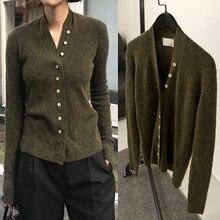 Suéter de mujer 2019 otoño nuevo cuello pico Jersey delgado y corto