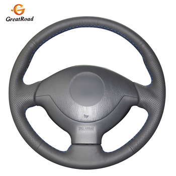Hand-stitched Black Genuine leather Car Steering Wheel Cover for Suzuki Jimny 2007-2012