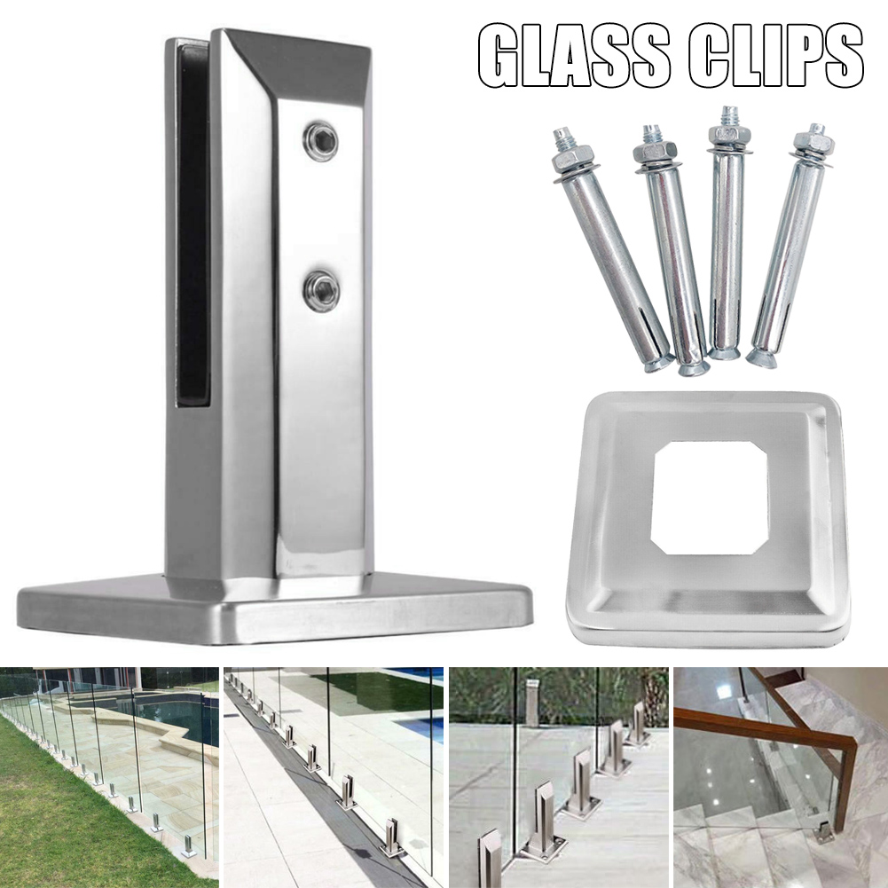Heavy Duty Stainless Steel Glass Pool Fence Clip Floor Glass Stand Fixed Fittings Clamp L9 #2