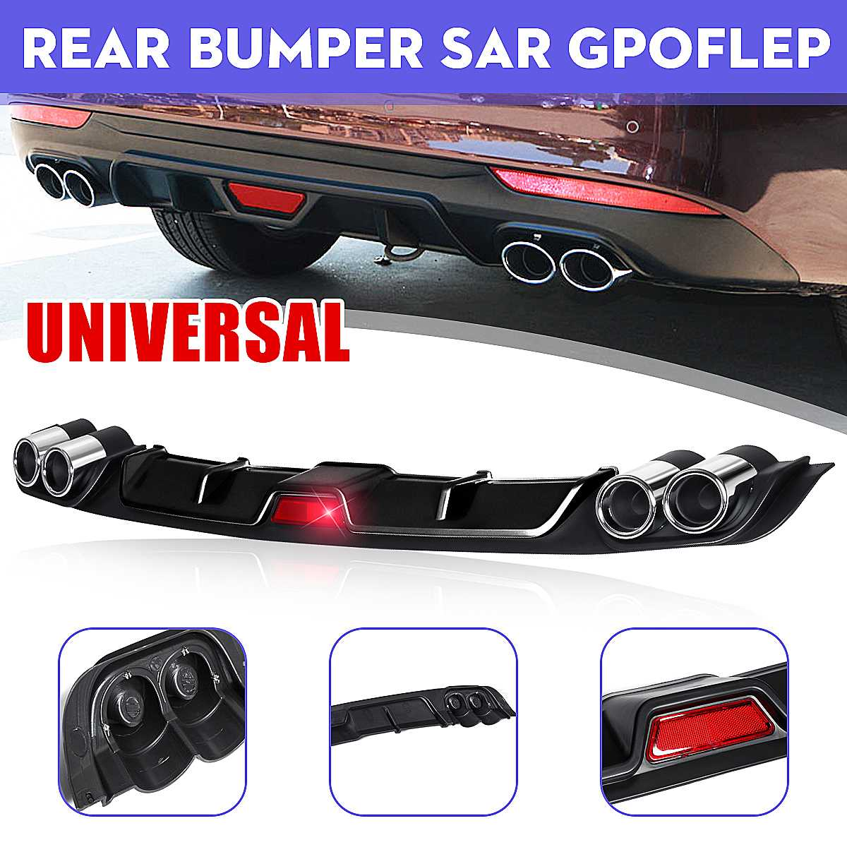 Universal Car Rear Bumper Diffuser Lip spoiler Canard for BMW E46 E60 E90 for Ford Focus 2 for Audi A3 Car-Styling ABS Plastic image