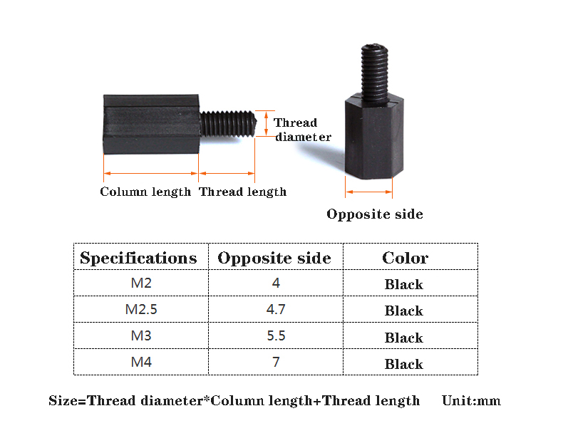 Color : Black, Size : 40mm YJZG 20//50pcs M2//M2.5//M3//M4L+6mm Thread Black or White Spacing Screw Plastic for PCB Motherboard Fixed Nylon Standoff Spacer Pillar