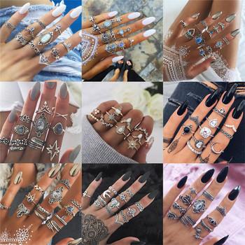 Modyle 40 style czeski Midi Knuckle zestaw pierścieni dla kobiet kryształowy słoń korona półksiężyc geometryczne pierścienie Vintage biżuteria tanie i dobre opinie Miedzi Kobiety Metal Party Napięcie ustawianie Moda TRENDY Wszystko kompatybilny Zespoły weselne 15249 Pierścionki