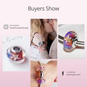 Image 5 - ATHENAIE verre Murano authentique, noyau en argent 925, fleurs de jasmin breloque à perles, Europea Bracelets à breloques, collier couleur violet