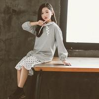 Girl Dress 2019 Autumn Winter Korean Long Sleeve Casual Brief Gary Patckwork Dot Kids Dresses for Teenager 6 8 10 12 14 Year