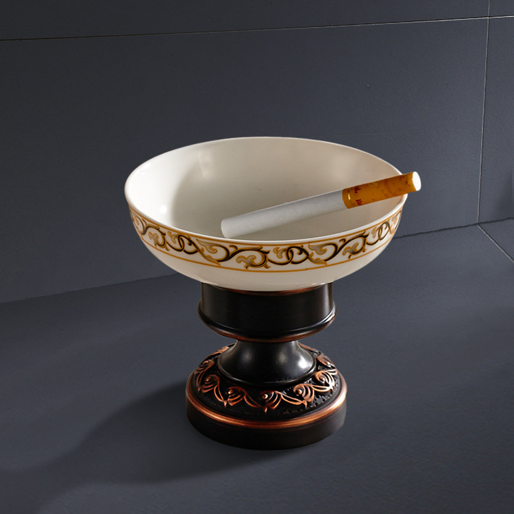 Manufacturers Supply Of Goods Sitting Type Soap Dish Bathroom Copper Base Circle Ceramic Ashtray Black And White With Pattern La