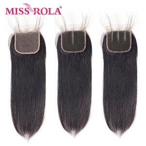 Image 5 - מיס רולה ישר שיער פרואני שיער חבילות עם סגירת 100% Huaman שיער 3 חבילות 8 26 Inch רמי שיער תוספות