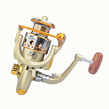 New Fishing coil Wooden handshake12BB JX1000-7000 Spinning Reel Professional Metal Left/Right Hand Wheels