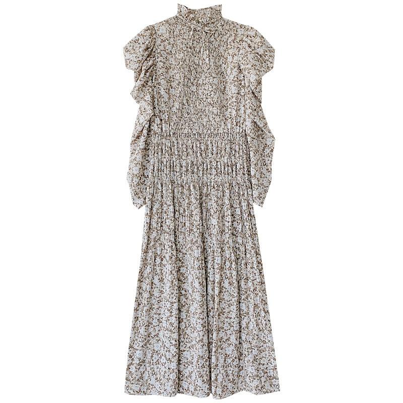 Kuzuwata Vintage Stand Collar Puff Sleeve Women Dress 2021 New Slim Waist Pleated Vestidos Mid Length Flower Print Dresses 4