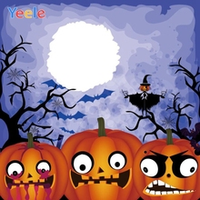Yeele Halloween Backdrop Castle Bat Pumpkin Lantern Trick Or Treat Customized Vinyl Photography Background For Photo Studio цена