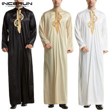 Men Muslim Islamic Kaftan Arabic Embroidery Long Sleeve Stand Collar Robes Vintage Dubai Caftan Men Jubba Thobe S-5XL INCERUN