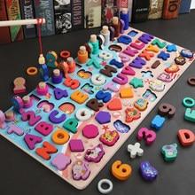 Nova madeira montessori pré-escolar brinquedos educativos crianças ocupado placa de matemática pesca contagem figuras geométricas desenvolver placa brinquedo