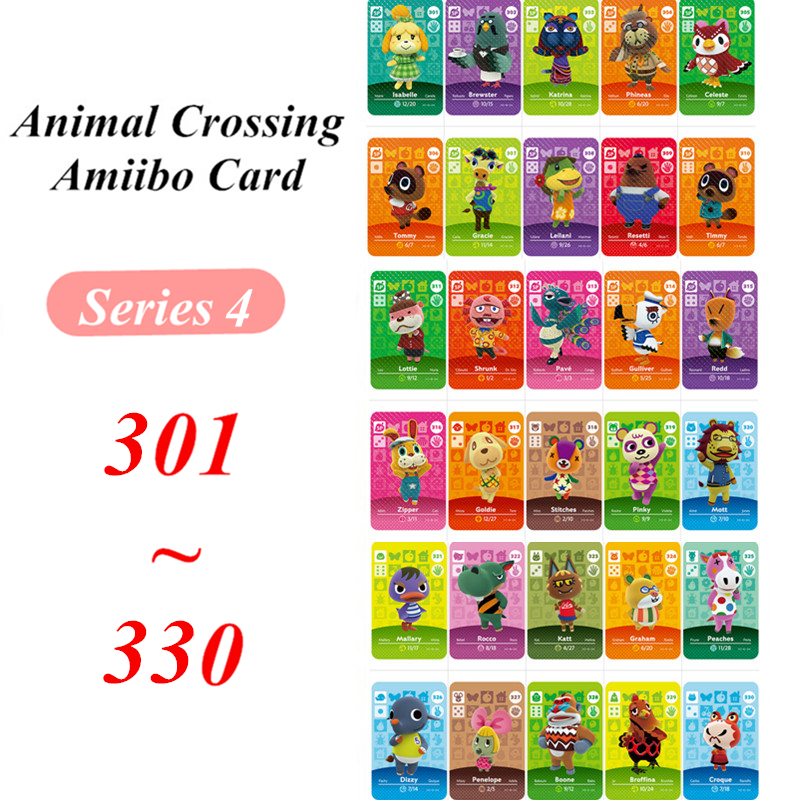 Animal Crossing Card Amiibo NFC Card 301 330 For Nintendo Switch NS Games Series 4  (301 To 330)