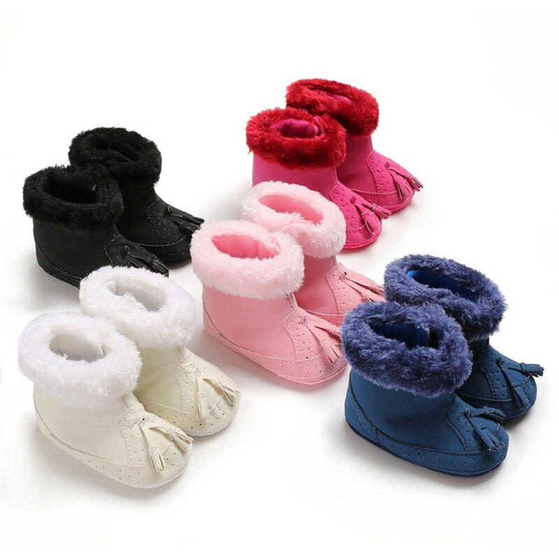 0-18M Nfant Baby Girl Winter Cotton Knit Fleece Snow Boots Warm Fur Soft Crib Shoes Baby Winter Shoes