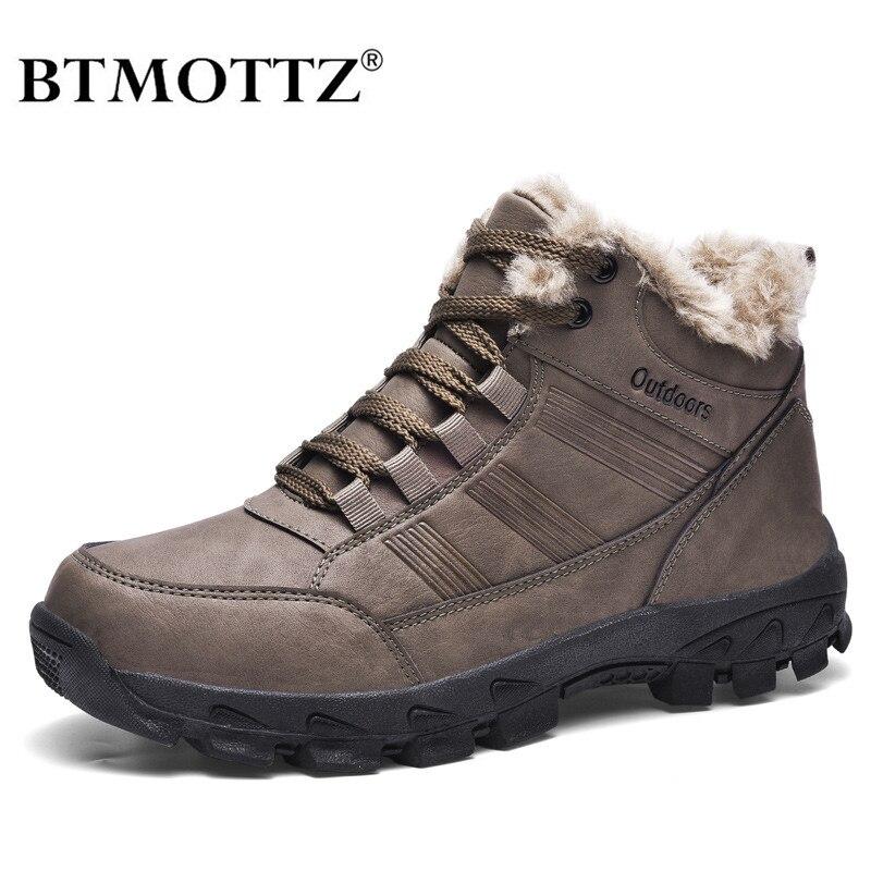 Ботинки мужские кожаные, теплые водонепроницаемые меховые сапоги, уличная зимняя Рабочая повседневная обувь, Военные боевые резиновые ботильоны|Зимние сапоги| | АлиЭкспресс