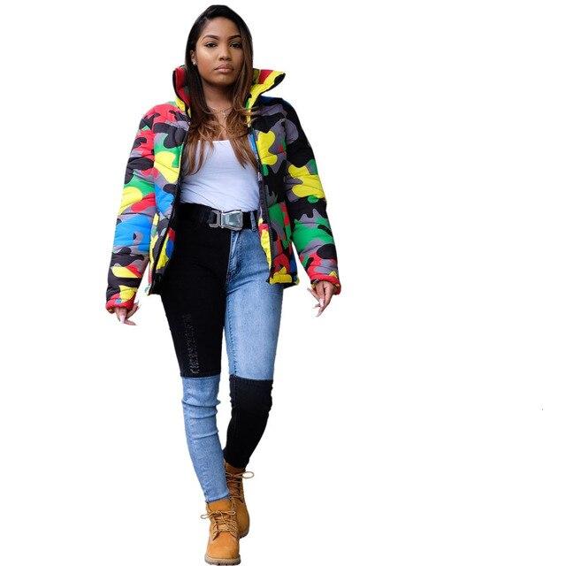 2019 camouflage impression hiver veste femmes Festival chaud Parka bas bulle manteau haut chaud épais Parka Couple porter culture bouffante veste 4XL 2