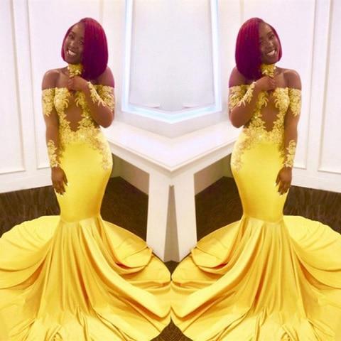 Vestidos de Baile Elegante do Laço Vestidos de Noite Vestido de Festa Africano Sexy Amarelo Mermaid Prom Vestido Longo Formais Baratos 2020