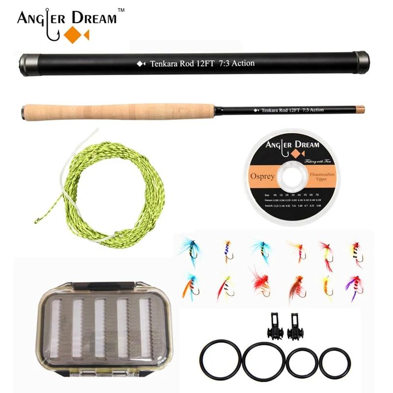 Combo de caña de pescar con mosca, 12/13 pies, Kit de caña Tenkara 30T, fibra de carbono, telescópica, mosca
