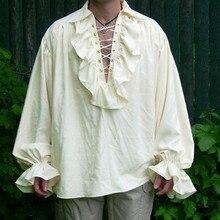Feitong, винтажная Готическая Мужская рубашка,, осенняя одежда, бандажная Мужская рубашка, яркая рубашка с длинным рукавом, Мужская блузка, одноцветные мужские топы