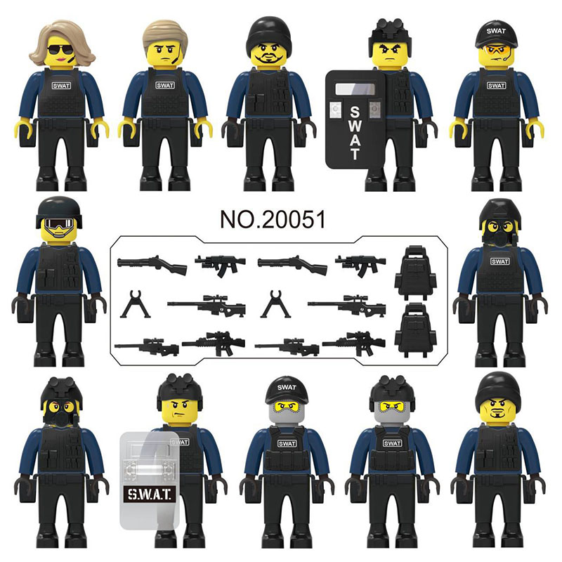 12PCS NEW  LegoINGlys Military City Police Figures Weapons New Structure Armed Swat Soldiers Bricks DIY Toys For Kid Gifts 20051