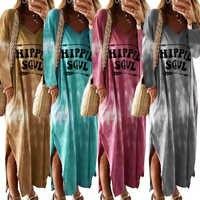 Cravate teinture Robe dégradé couleur Sukienka profond Robe plongeante côté fente Robe Ete 2019 lettre Hippie Soul Robe Maxi manches longues femmes