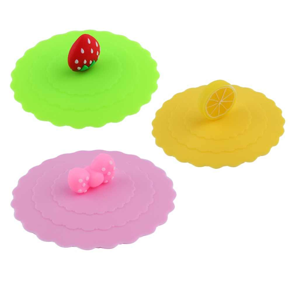 1Pc Leuke Anti-stof Siliconen Glas Cover Beker Zuig Seal Deksel Cap Silicone Luchtdicht Liefde Lepel nieuwigheid