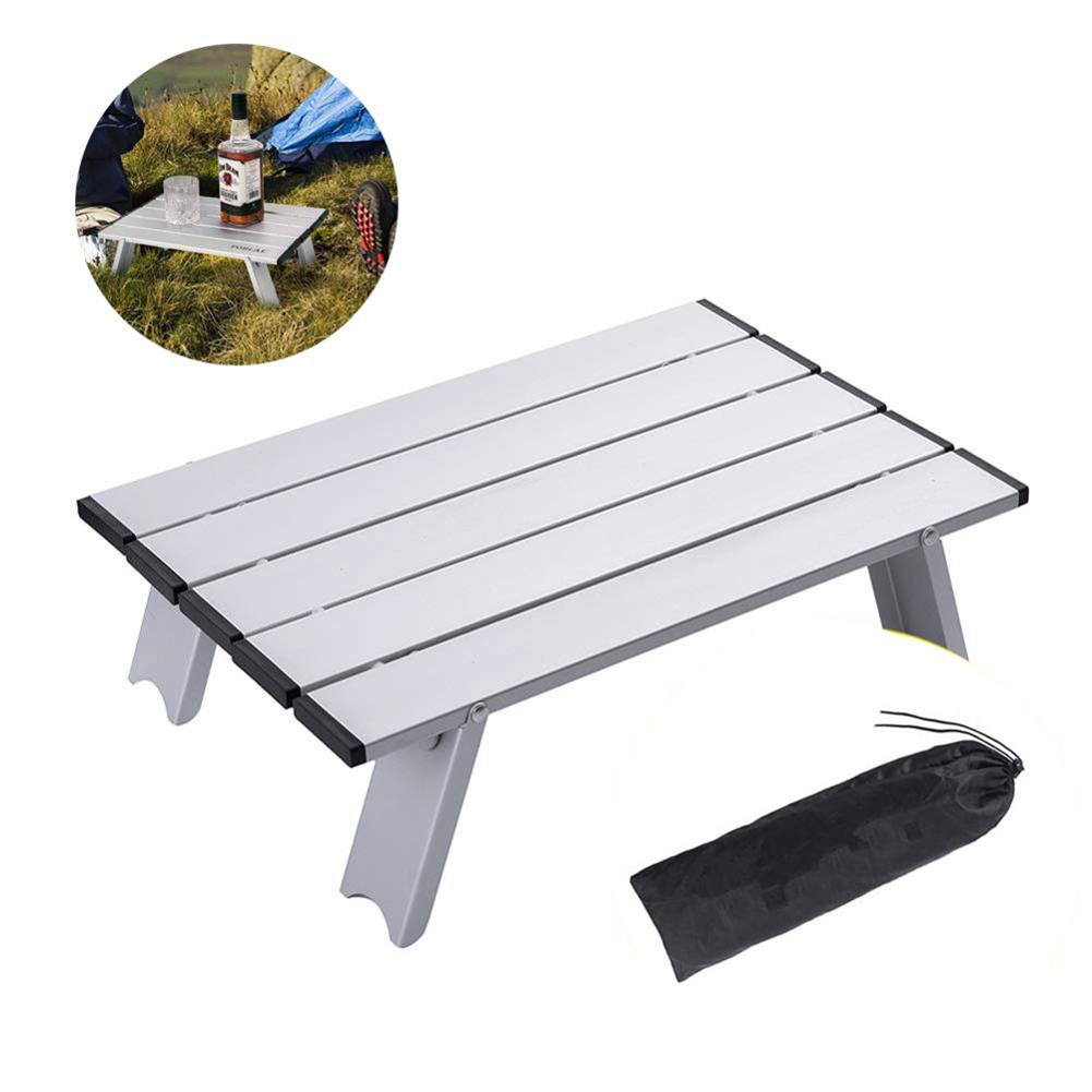Lightweight Portable Camping Table Aluminum Folding Table Compact Roll Up Tables With Carrying Bag For Outdoor Backpacking
