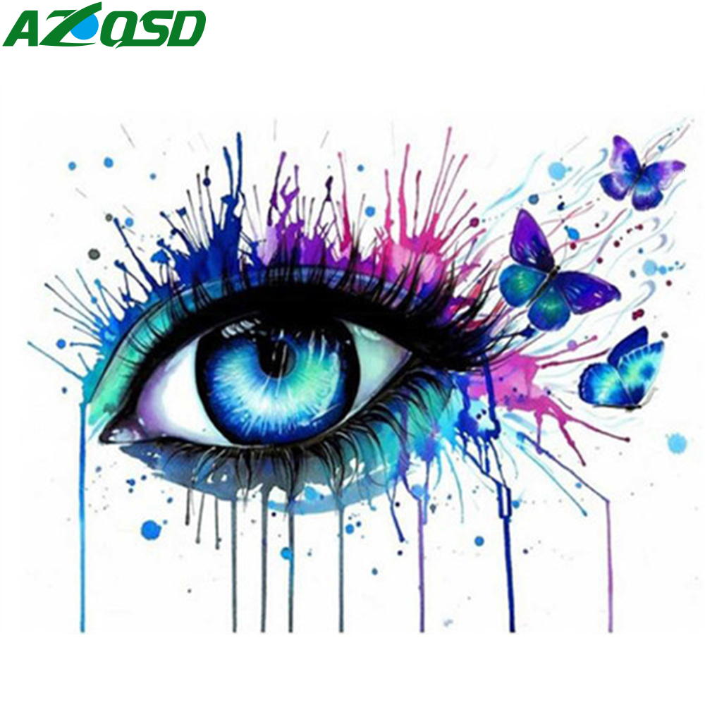 AZQSD Unframe Paint By Numbers Eyes Abstract Art DIY Picture Oil Painting By Numbers Portrait Acrylic Paint Canvas Handicraft