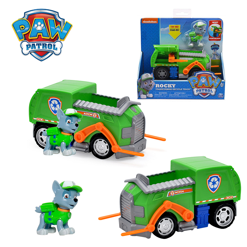 Paw Patrol Rescue Rocky Cruiser Vehicle & Figure Model Everest Apollo Tracker Ryder Chase Vehicle Set Toy Car For Children Gifts
