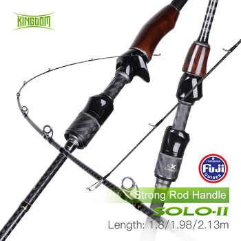 kingdom keel iii fishing rods l ml m mh high quality spinning Kingdom Solo II Fishing Rod 2 Section L/ML/M/MH FUJI Guide Ring Spinning Rod Wooden Handle Sea & Freshwater Strong Casting Rods