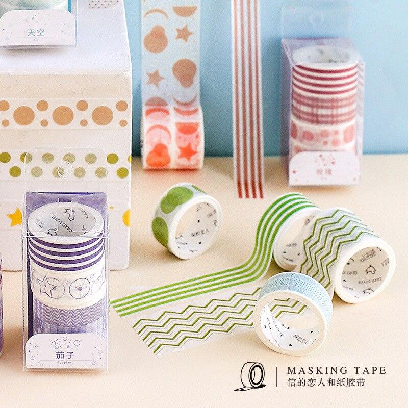 3pcs/pack Color Geometric Theme Washi Tape Adhesive Tape DIY Scrapbooking Sticker Label Craft Masking Tape