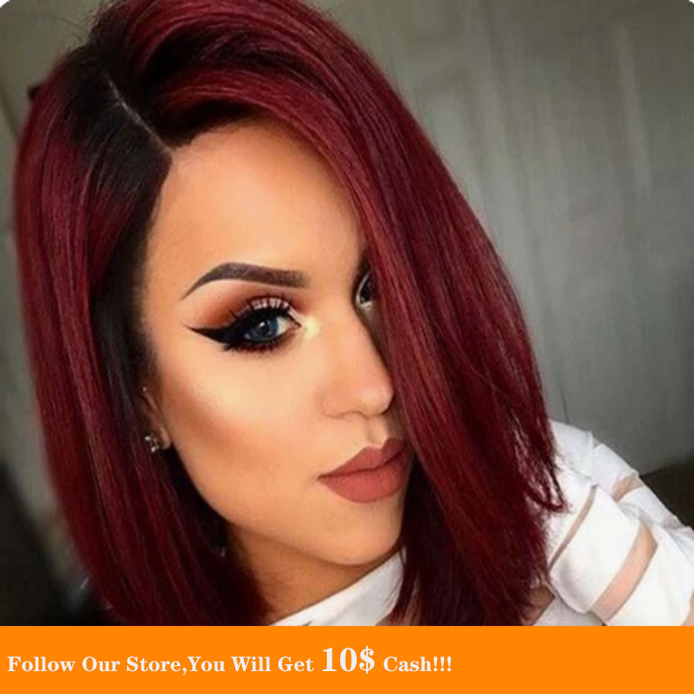 13x4 Long Ombre Wine Lace Front Wigs  Straight Remy Black Root Human Hair Wig Small Cap Size Pre Plucked Glueless Wig For Women